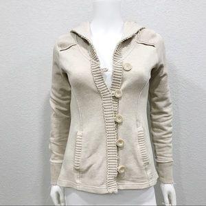 Billabong oatmeal beige hoodie jacket button front